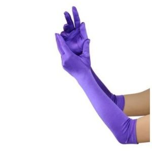 Purple Womens Shiny Satin Semi Opera Glove